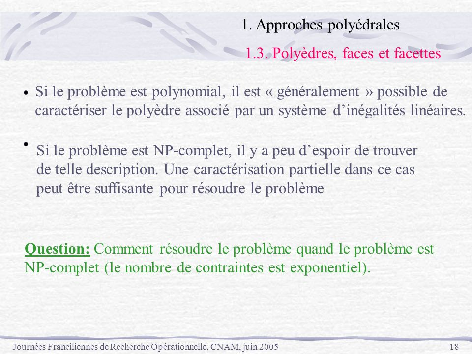 1. Approches polyédrales