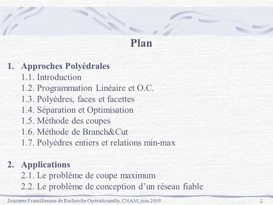 Plan 1. Approches Polyédrales 1.1. Introduction