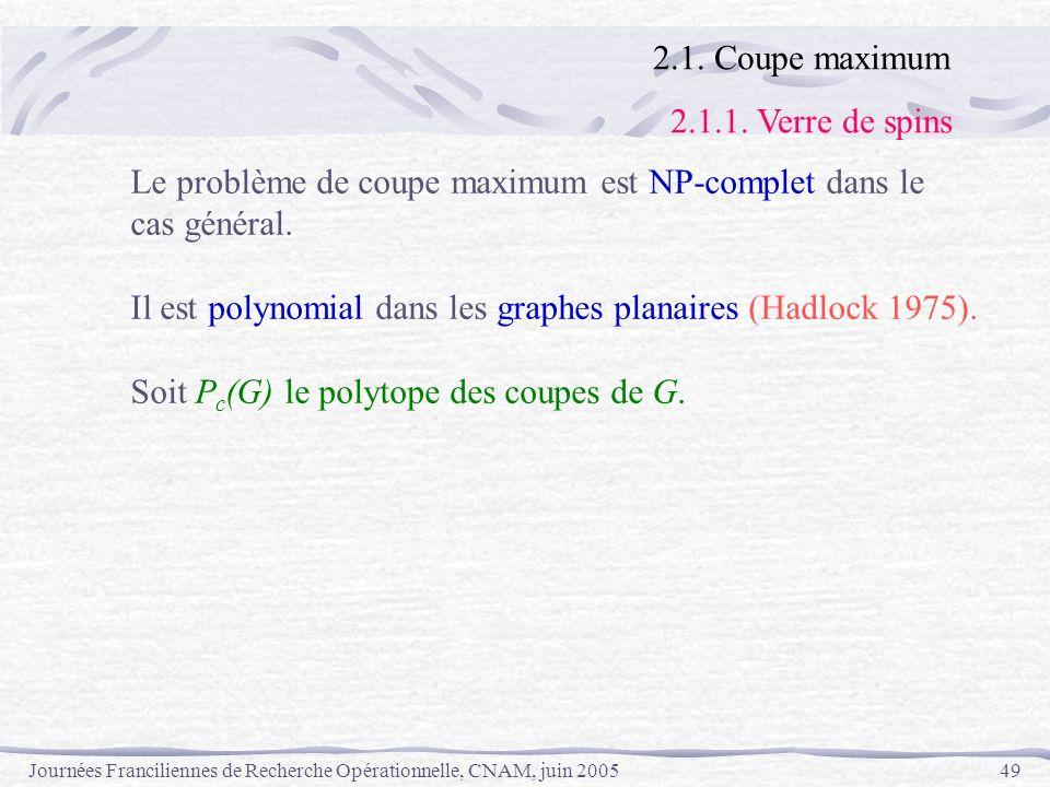 2.1. Coupe maximum 2.1.1. Verre de spins. Le problème de coupe maximum est NP-complet dans le. cas général.