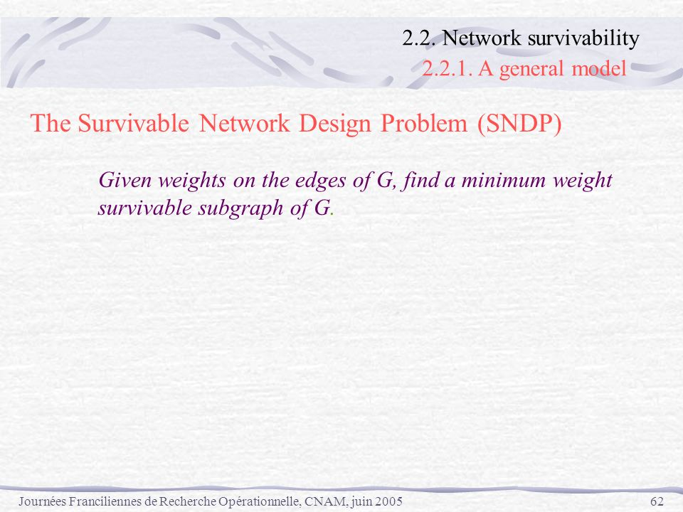 The Survivable Network Design Problem (SNDP)