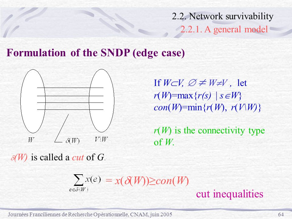 Formulation of the SNDP (edge case)