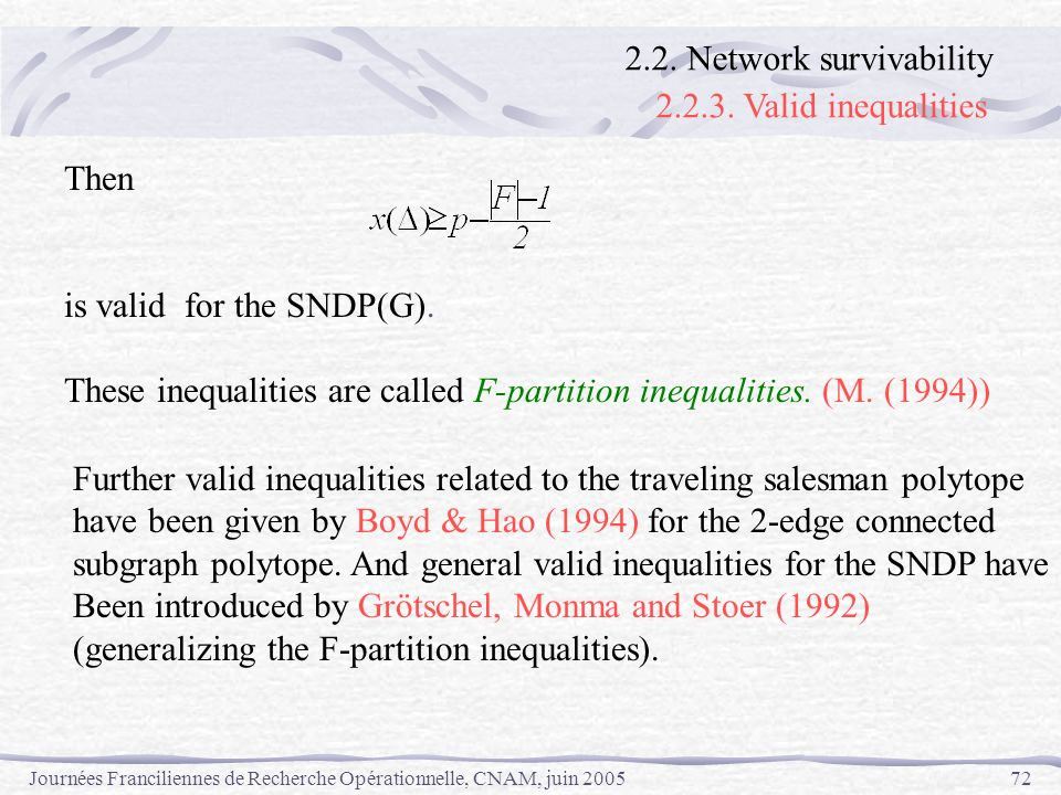 2.2.3. Valid inequalities 2.2. Network survivability Then