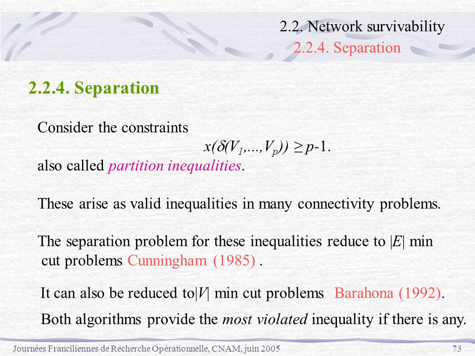 2.2.4. Separation 2.2.4. Separation 2.2. Network survivability