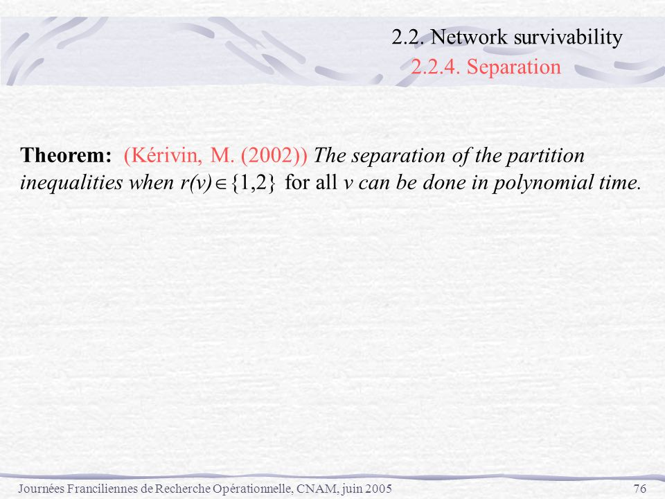 2.2.4. Separation 2.2. Network survivability