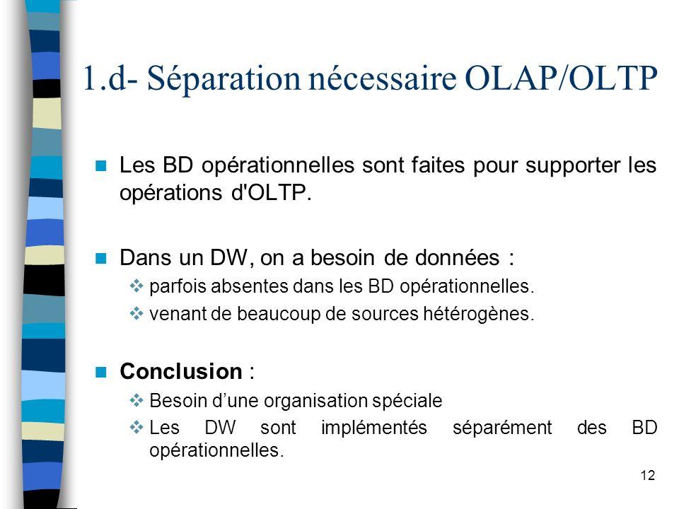 1.d- Séparation nécessaire OLAP/OLTP