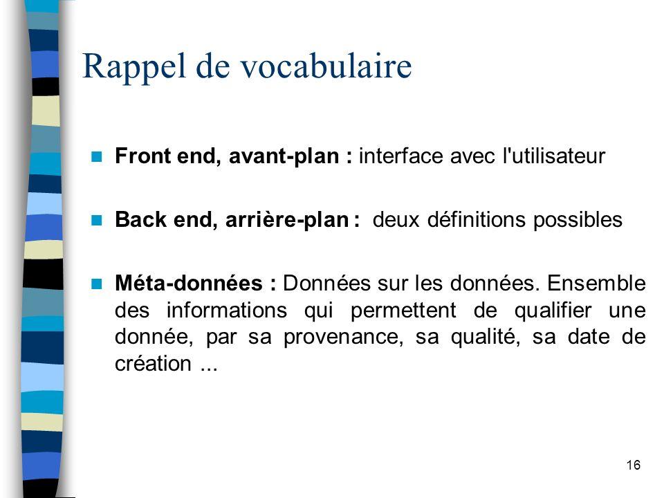 Rappel de vocabulaire Front end, avant-plan : interface avec l utilisateur. Back end, arrière-plan : deux définitions possibles.