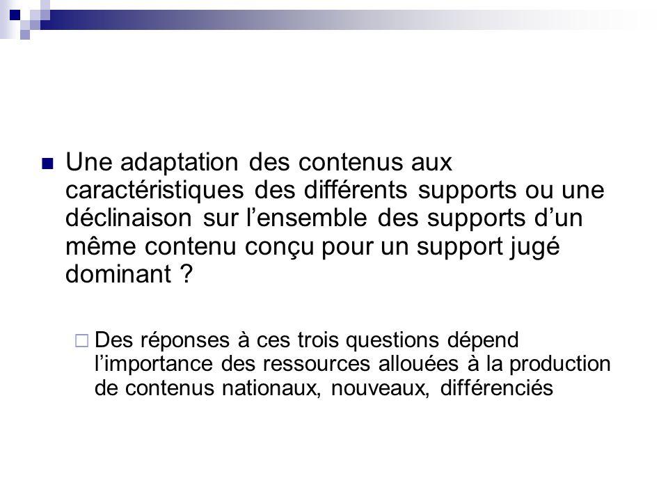 Une adaptation des contenus aux caractéristiques des différents supports ou une déclinaison sur l'ensemble des supports d'un même contenu conçu pour un support jugé dominant