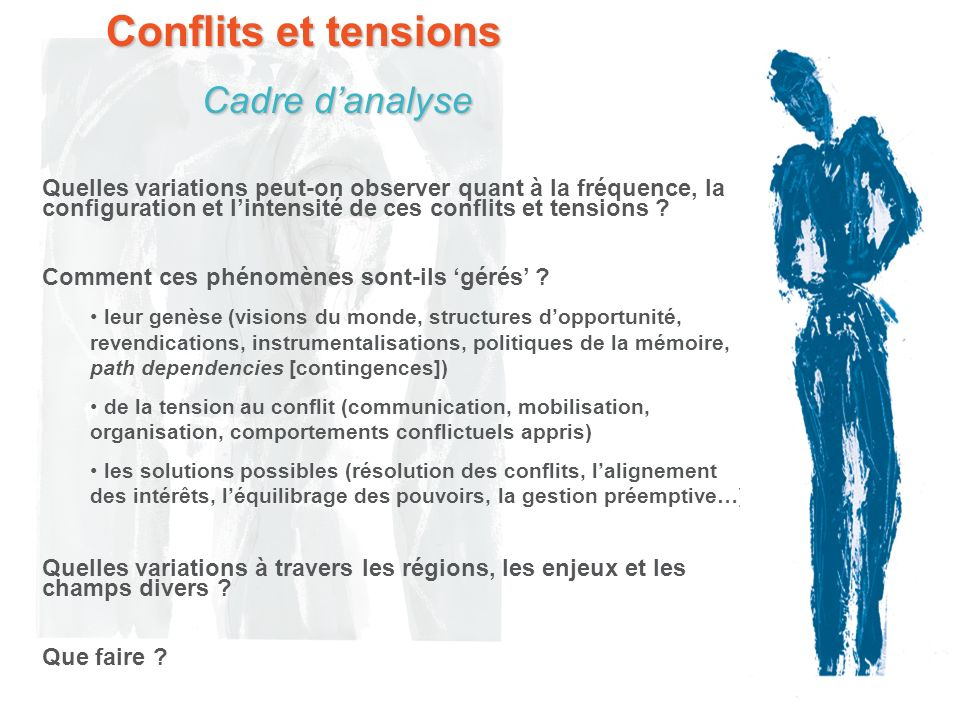 Conflits et tensions Cadre d'analyse