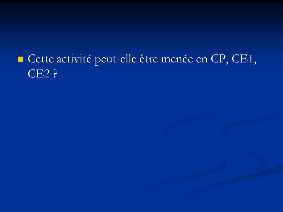 Cette activité peut-elle être menée en CP, CE1, CE2