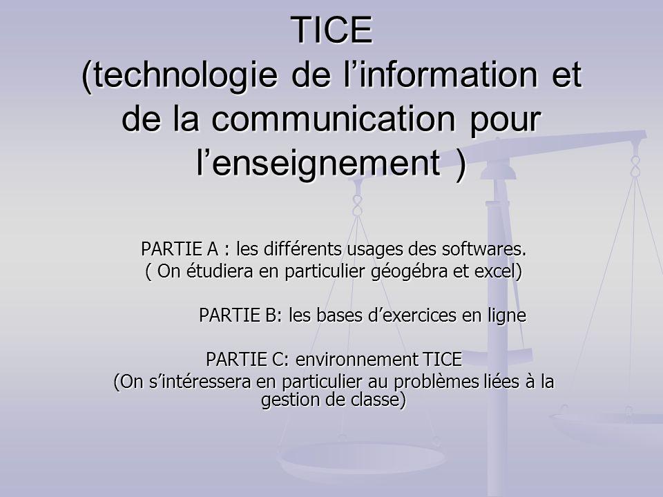 TICE (technologie de l'information et de la communication pour l'enseignement )