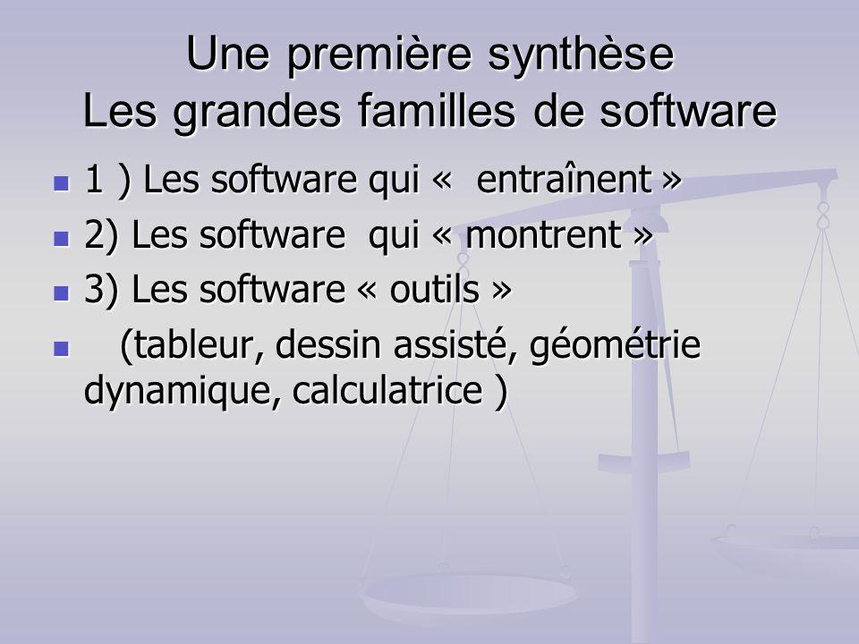 Une première synthèse Les grandes familles de software