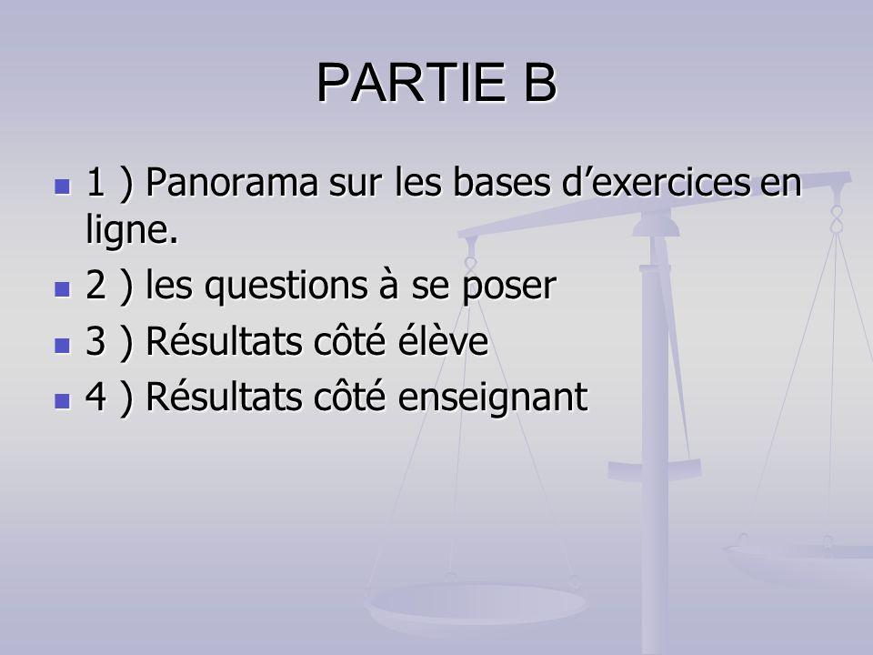 PARTIE B 1 ) Panorama sur les bases d'exercices en ligne.