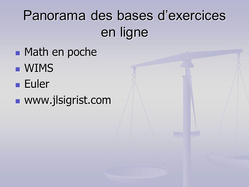 Panorama des bases d'exercices en ligne