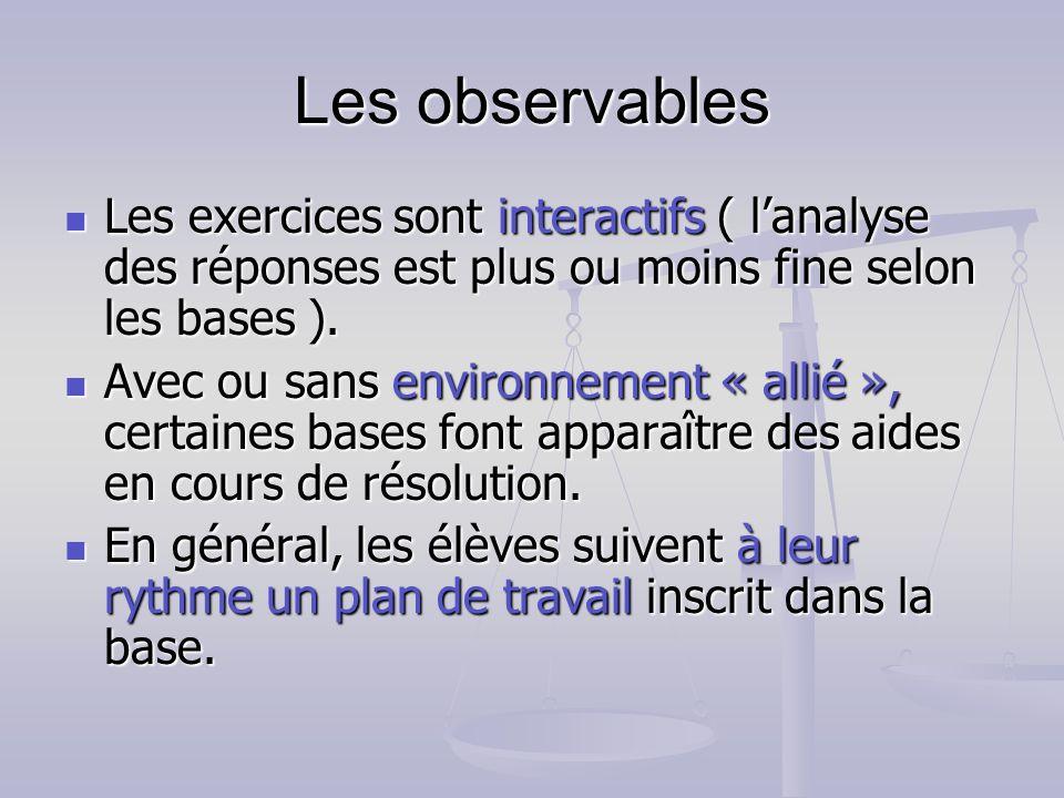 Les observables Les exercices sont interactifs ( l'analyse des réponses est plus ou moins fine selon les bases ).