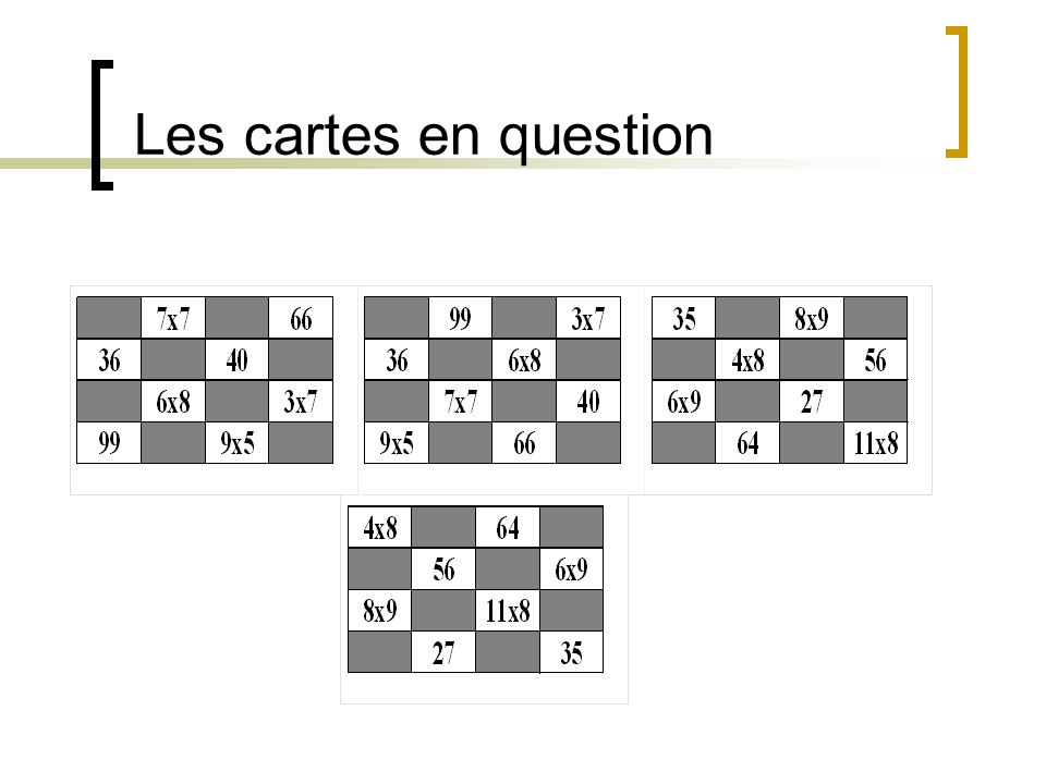Les cartes en question