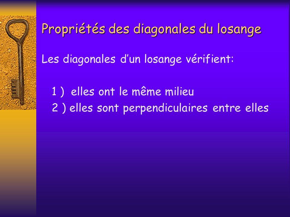 Propriétés des diagonales du losange