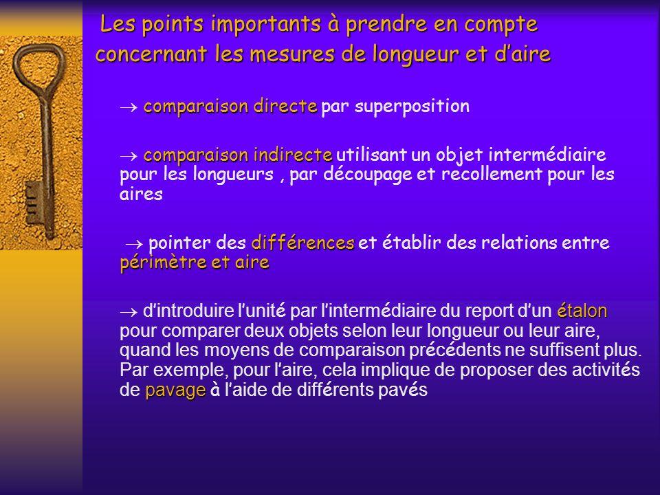 Les points importants à prendre en compte concernant les mesures de longueur et d'aire