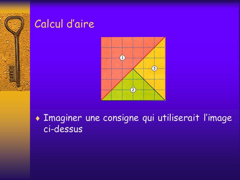Calcul d'aire Imaginer une consigne qui utiliserait l'image ci-dessus