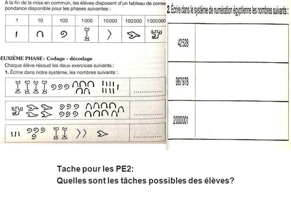 Tache pour les PE2: Quelles sont les tâches possibles des élèves