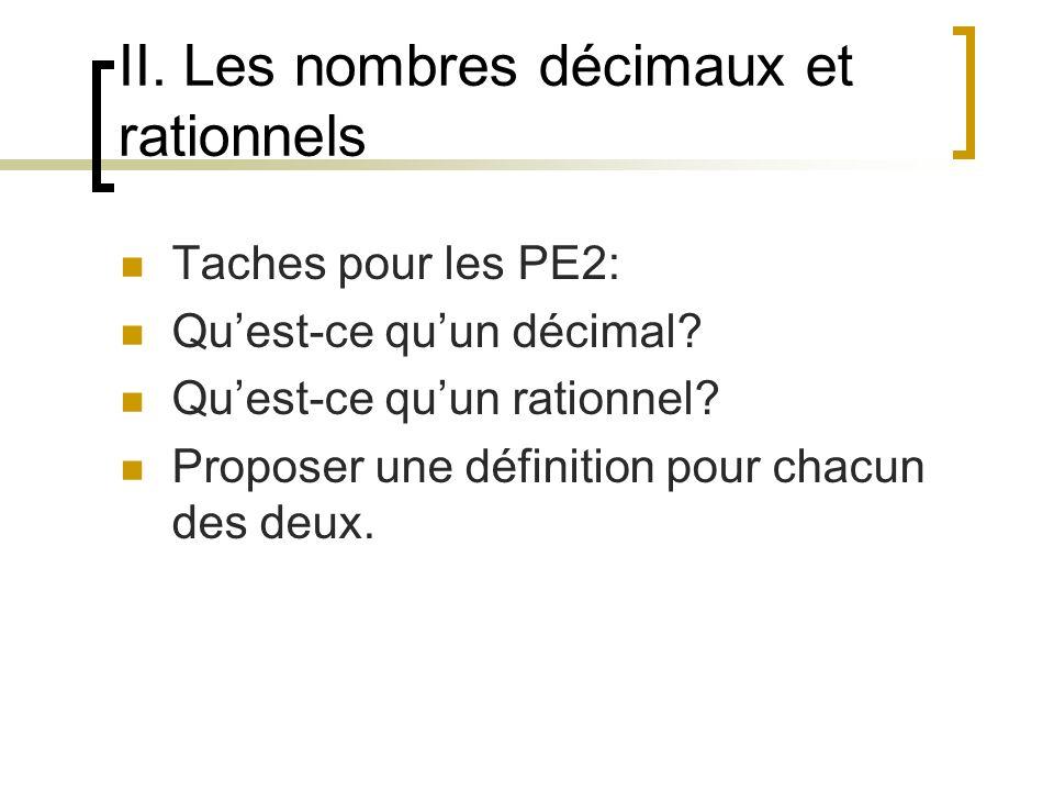 II. Les nombres décimaux et rationnels