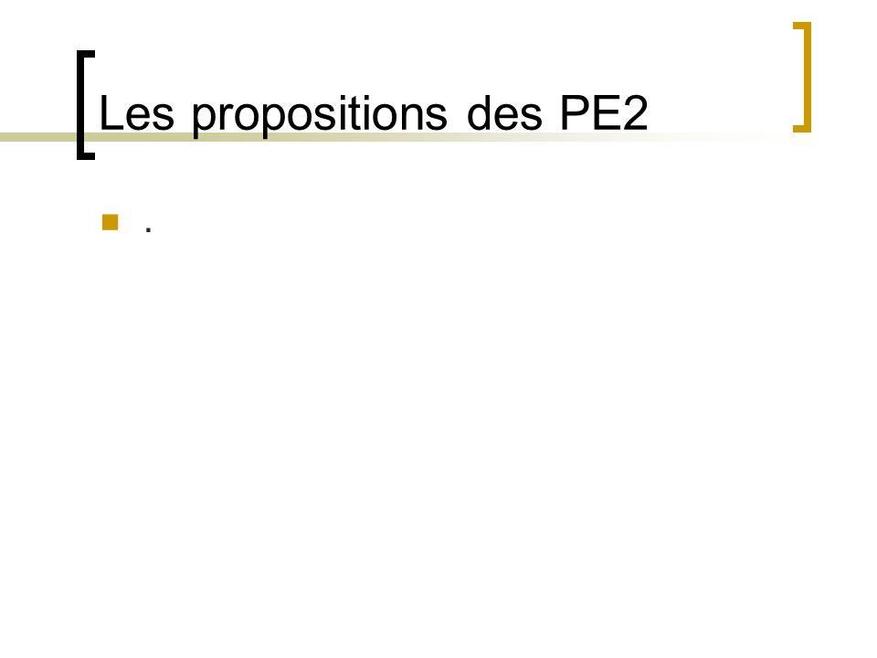 Les propositions des PE2