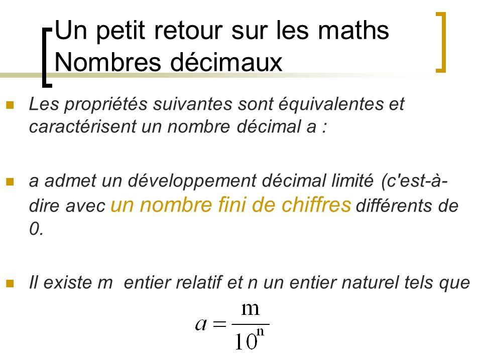 Un petit retour sur les maths Nombres décimaux