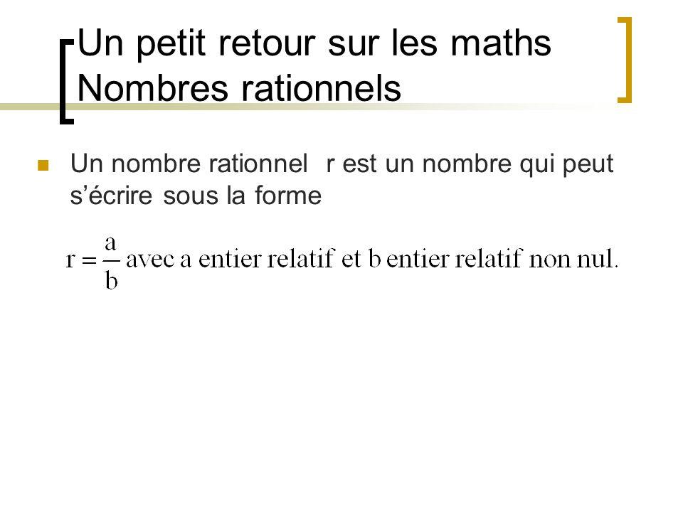Un petit retour sur les maths Nombres rationnels