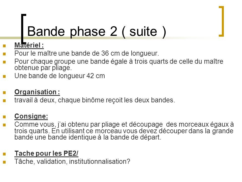 Bande phase 2 ( suite ) Matériel :
