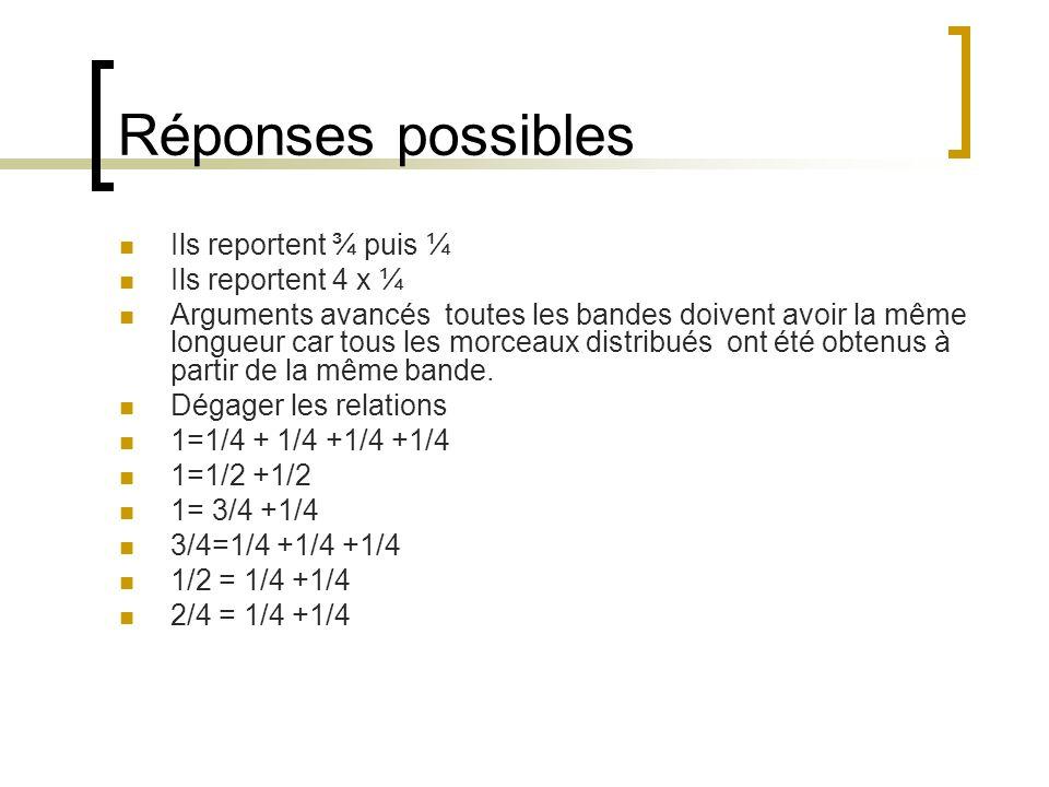 Réponses possibles Ils reportent ¾ puis ¼ Ils reportent 4 x ¼