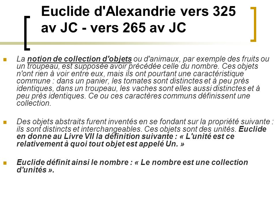 Euclide d Alexandrie vers 325 av JC - vers 265 av JC
