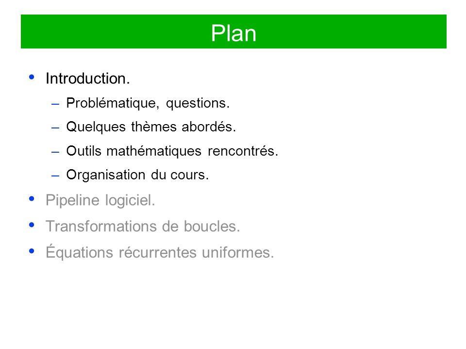 Plan Introduction. Pipeline logiciel. Transformations de boucles.