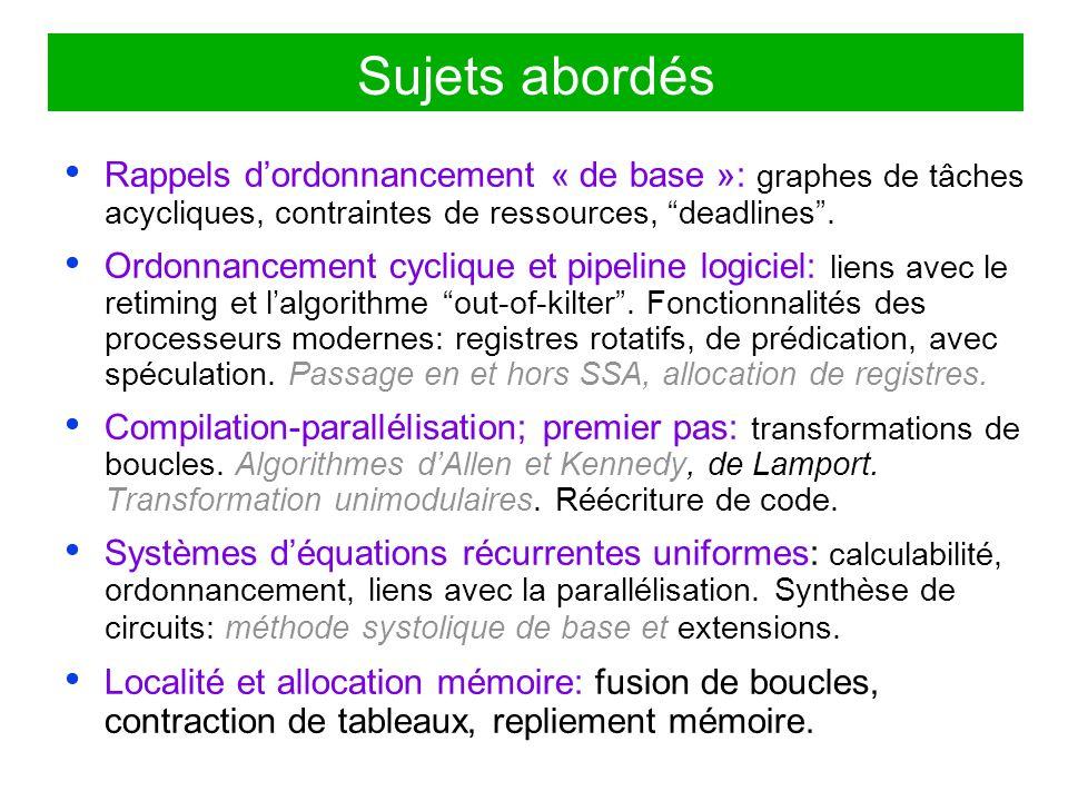 Sujets abordés Rappels d'ordonnancement « de base »: graphes de tâches acycliques, contraintes de ressources, deadlines .