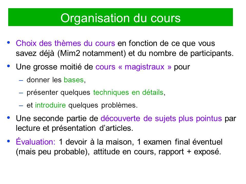 Organisation du cours Choix des thèmes du cours en fonction de ce que vous savez déjà (Mim2 notamment) et du nombre de participants.