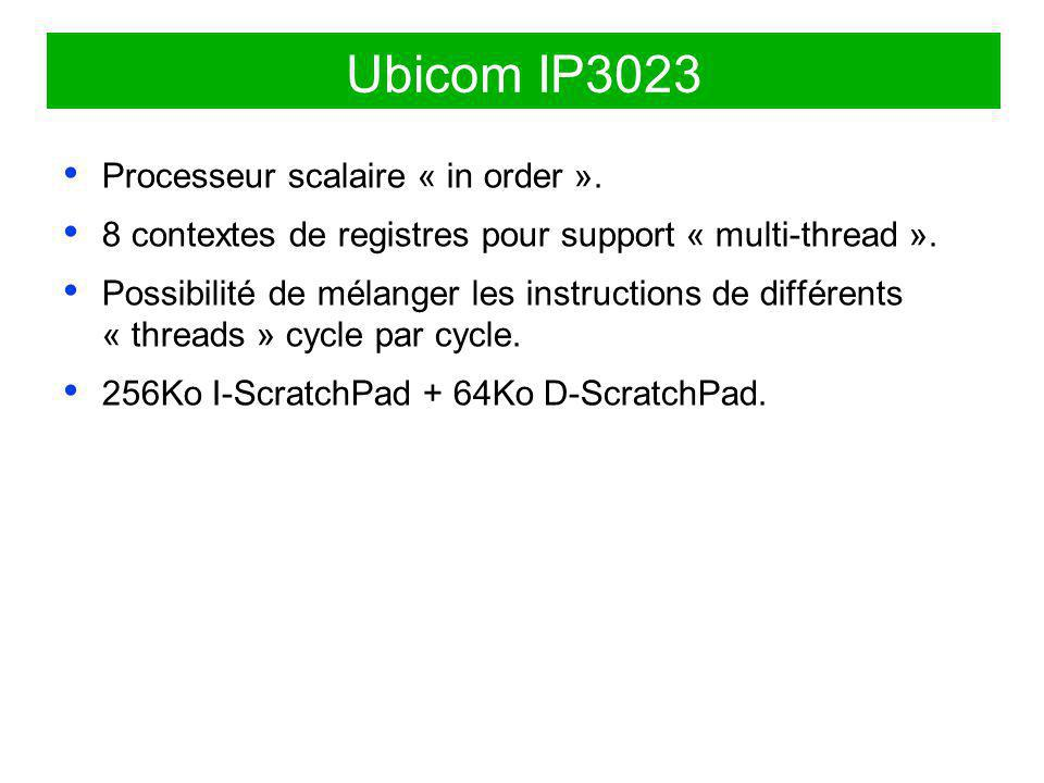Ubicom IP3023 Processeur scalaire « in order ».