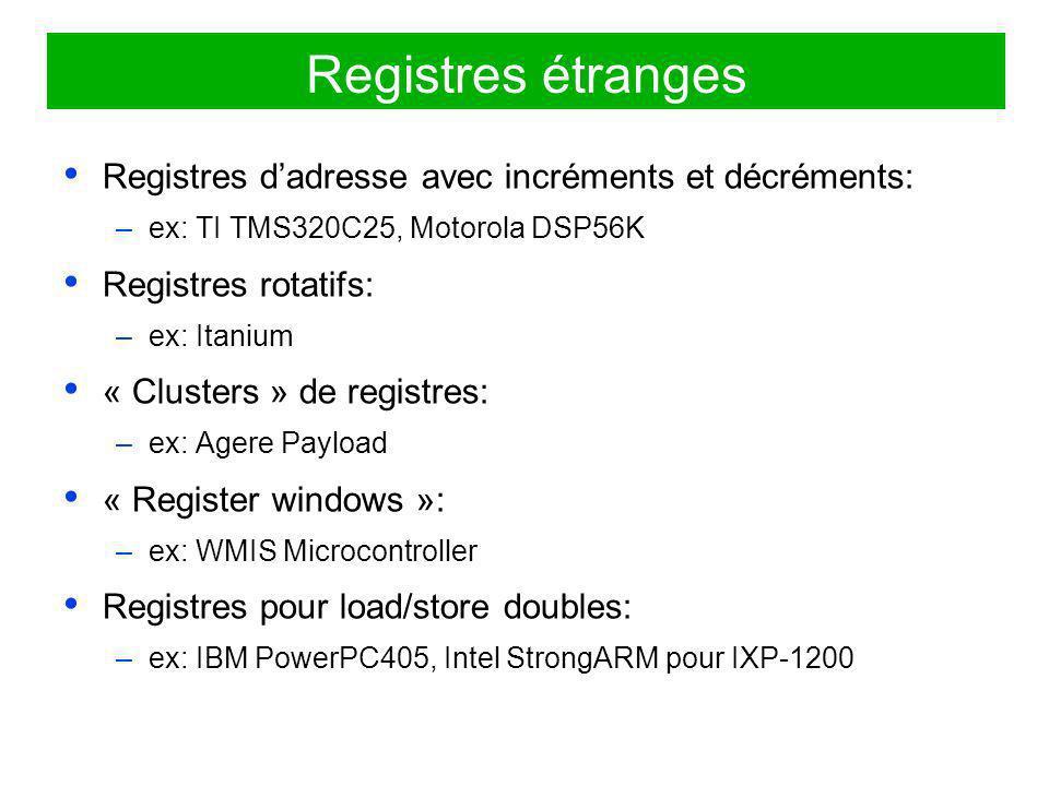 Registres étranges Registres d'adresse avec incréments et décréments: