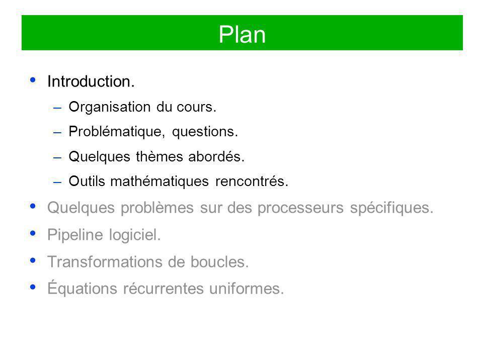 Plan Introduction. Quelques problèmes sur des processeurs spécifiques.