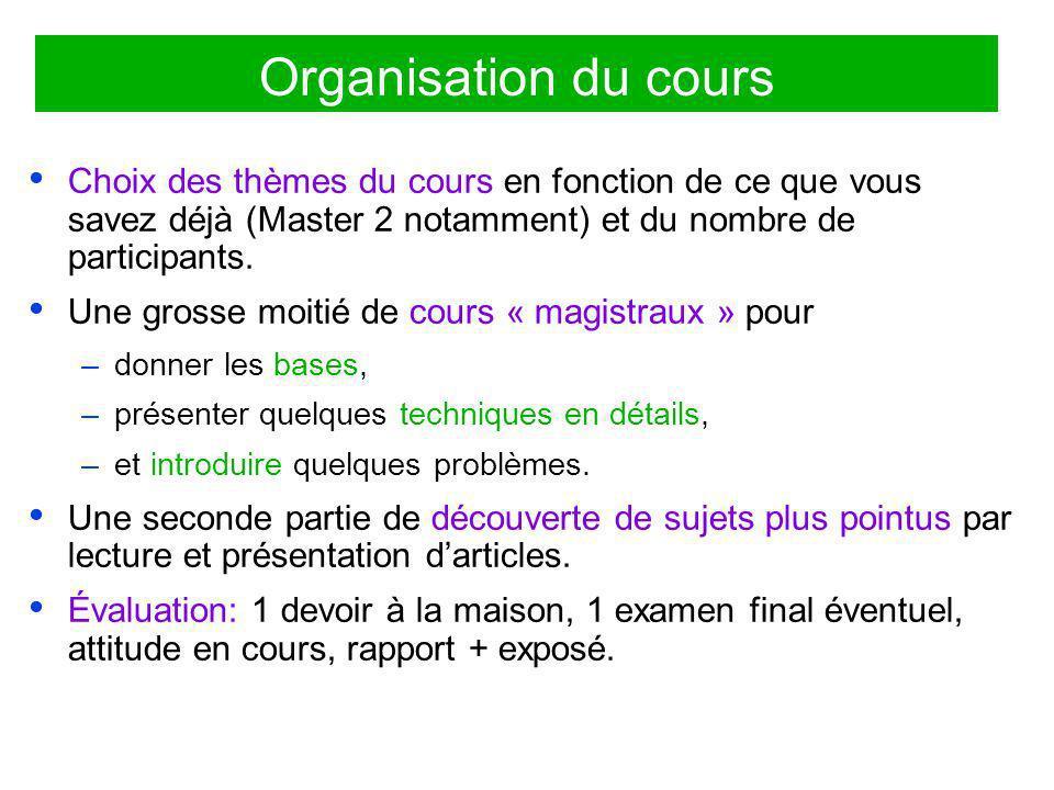 Organisation du cours Choix des thèmes du cours en fonction de ce que vous savez déjà (Master 2 notamment) et du nombre de participants.