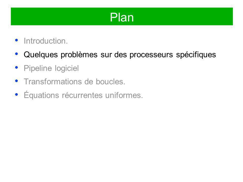 Plan Introduction. Quelques problèmes sur des processeurs spécifiques