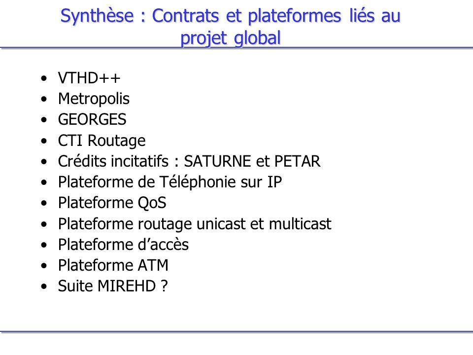 Synthèse : Contrats et plateformes liés au projet global