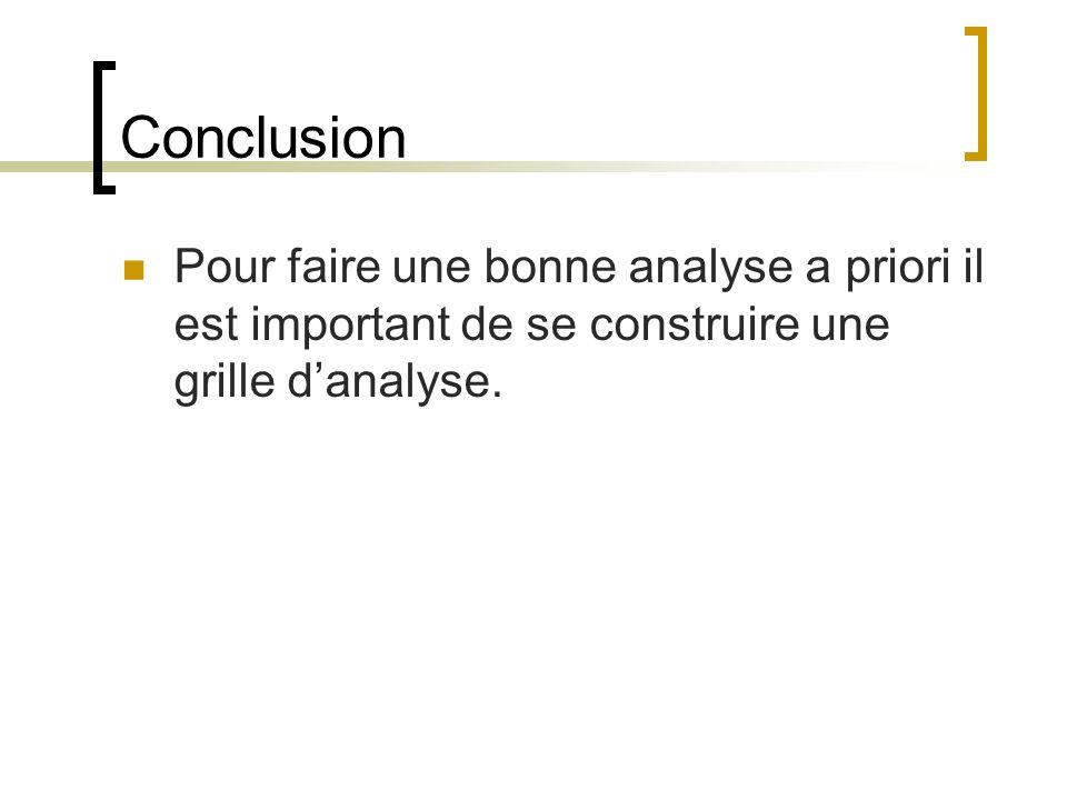 Conclusion Pour faire une bonne analyse a priori il est important de se construire une grille d'analyse.