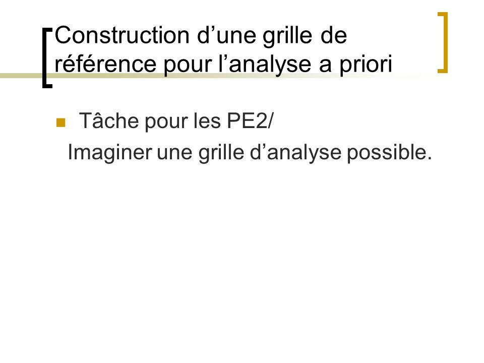 Construction d'une grille de référence pour l'analyse a priori