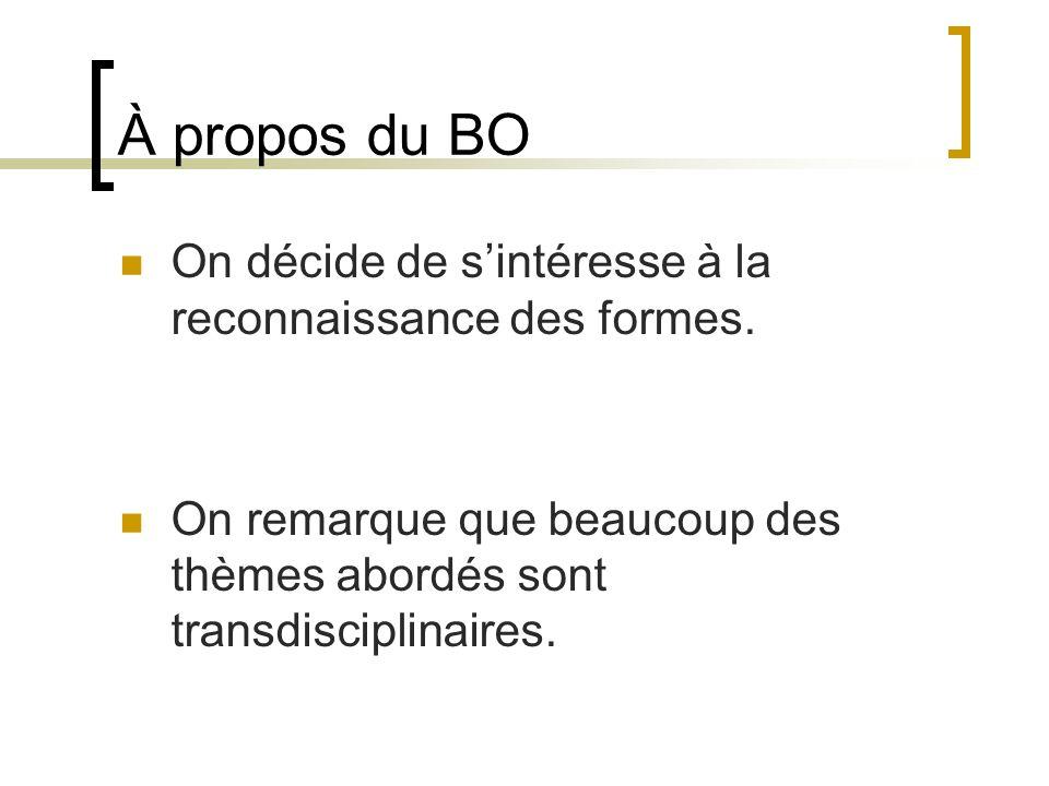 À propos du BO On décide de s'intéresse à la reconnaissance des formes.