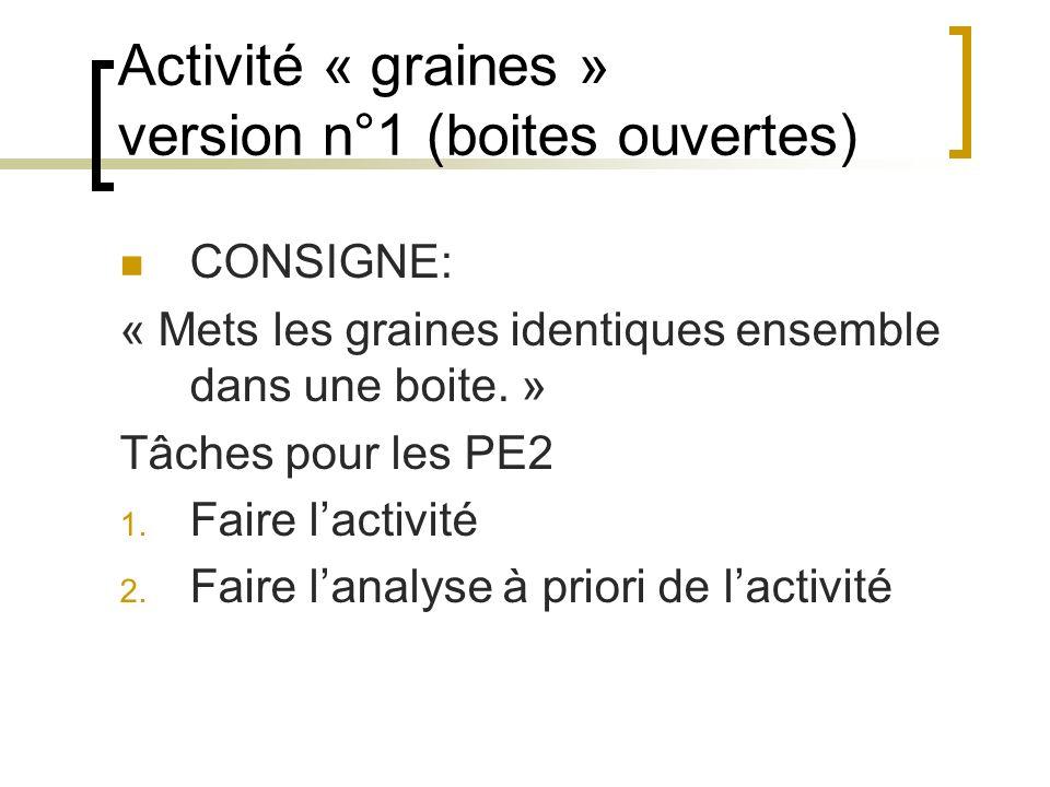 Activité « graines » version n°1 (boites ouvertes)