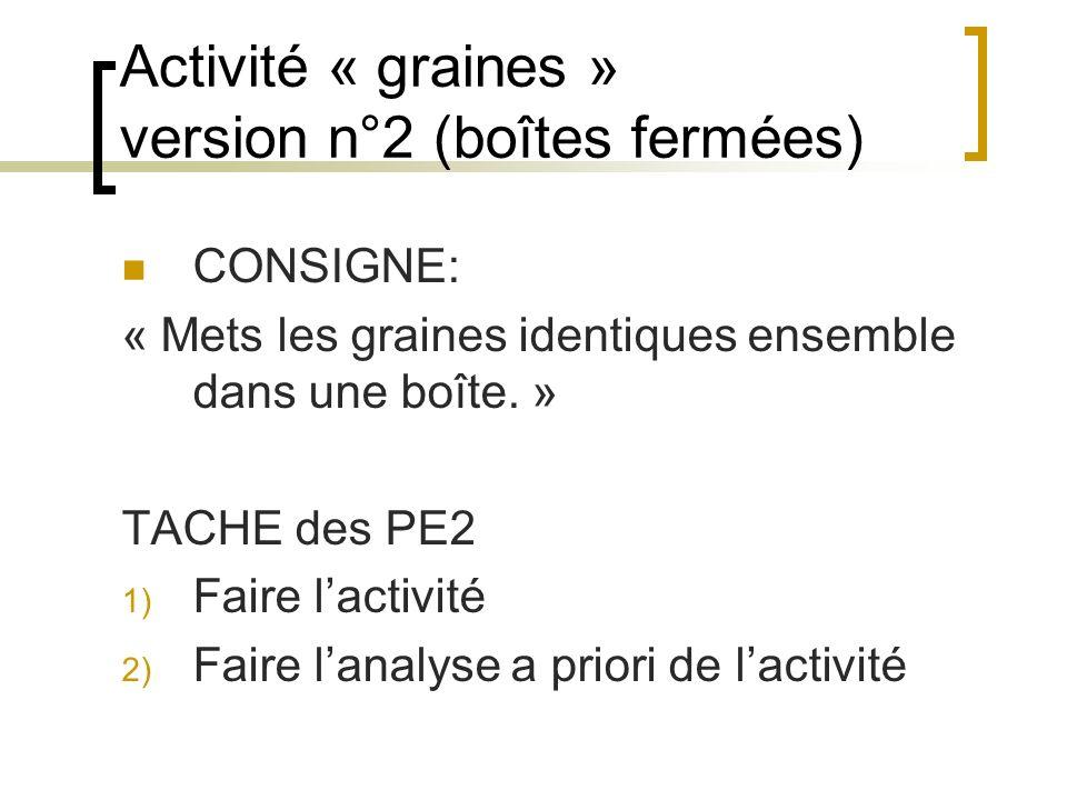 Activité « graines » version n°2 (boîtes fermées)