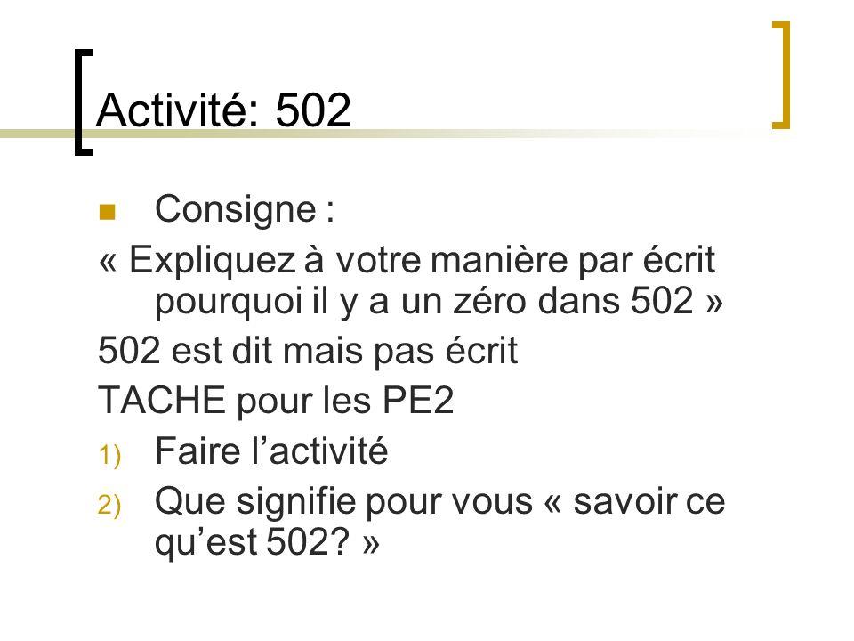 Activité: 502Consigne : « Expliquez à votre manière par écrit pourquoi il y a un zéro dans 502 » 502 est dit mais pas écrit.