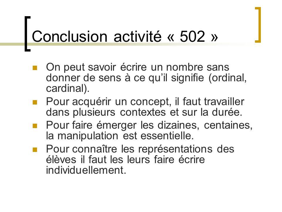 Conclusion activité « 502 »