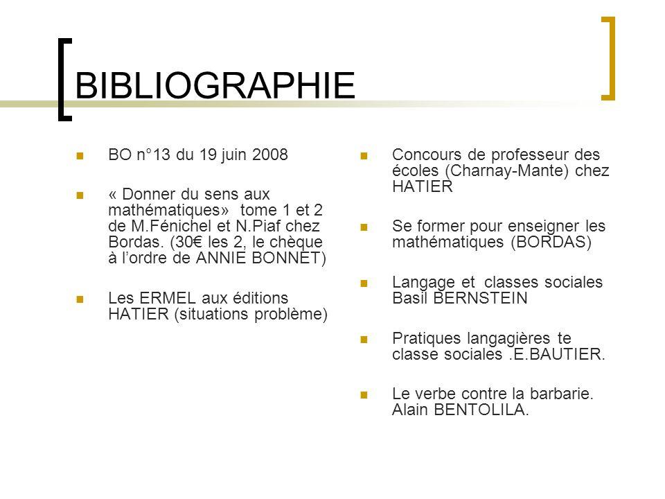 BIBLIOGRAPHIE BO n°13 du 19 juin 2008