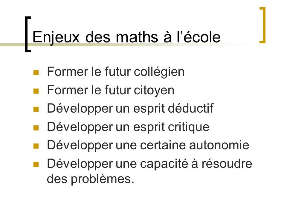 Enjeux des maths à l'école