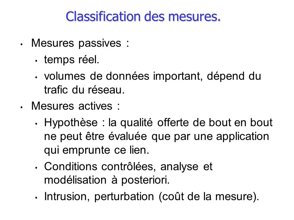 Classification des mesures.
