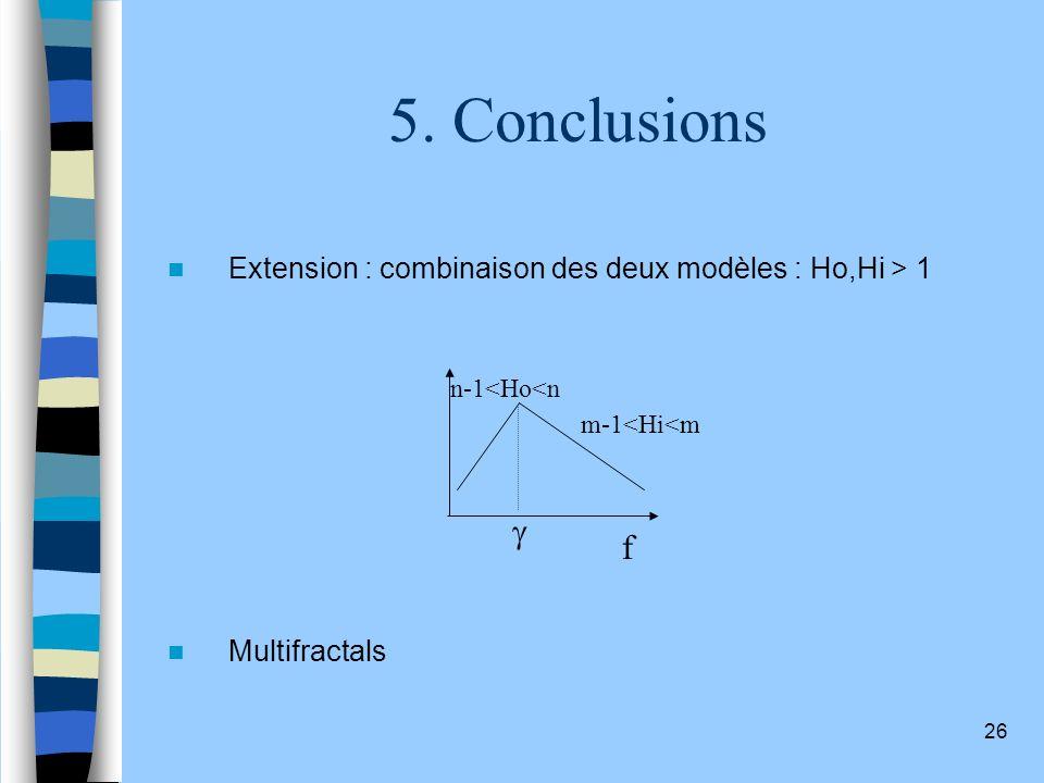 5. Conclusions Extension : combinaison des deux modèles : Ho,Hi > 1. Multifractals. f. n-1<Ho<n.